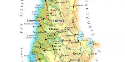 Map of physical map of Albania